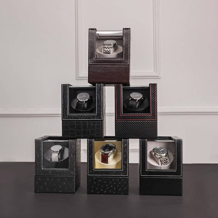6 different kinds of Fashion Promotional PU Leather Single Watch Winder with Stitch Trim Customized Logo