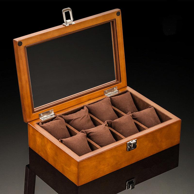 Custom Wood Watch Display Box Organizer Black Watch Wooden Case