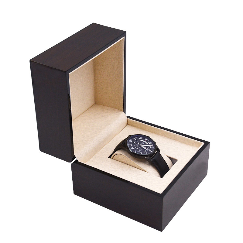 Custom Logo Gift Display Packaging Storage Luxury Small Black Flat Wooden Watch Box