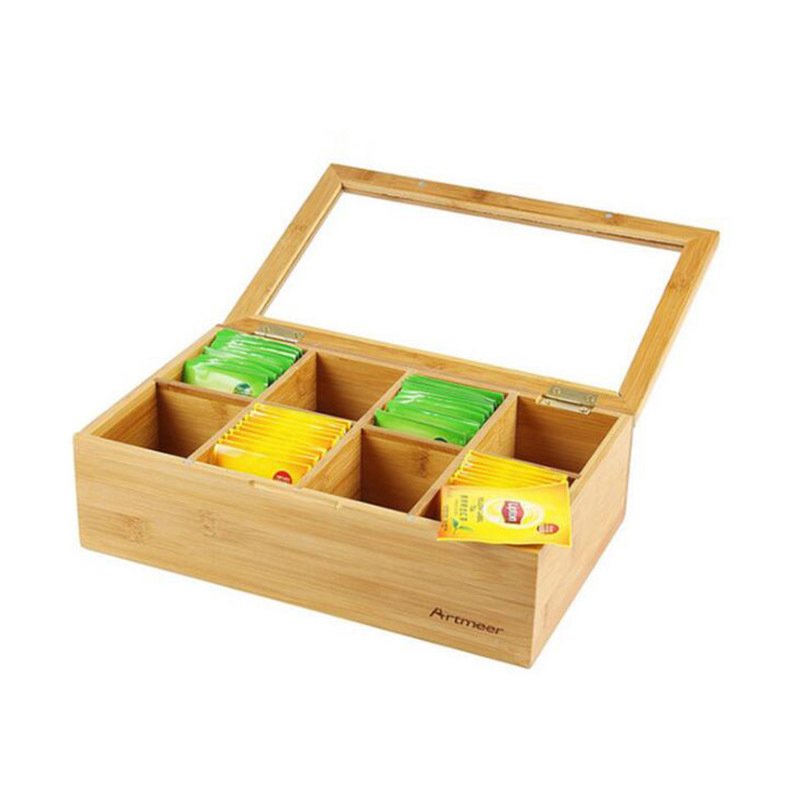 Wholesale Reusable Eco Friendly Storage 8 Equally Divided Compartments Bamboo Tea Storage Box