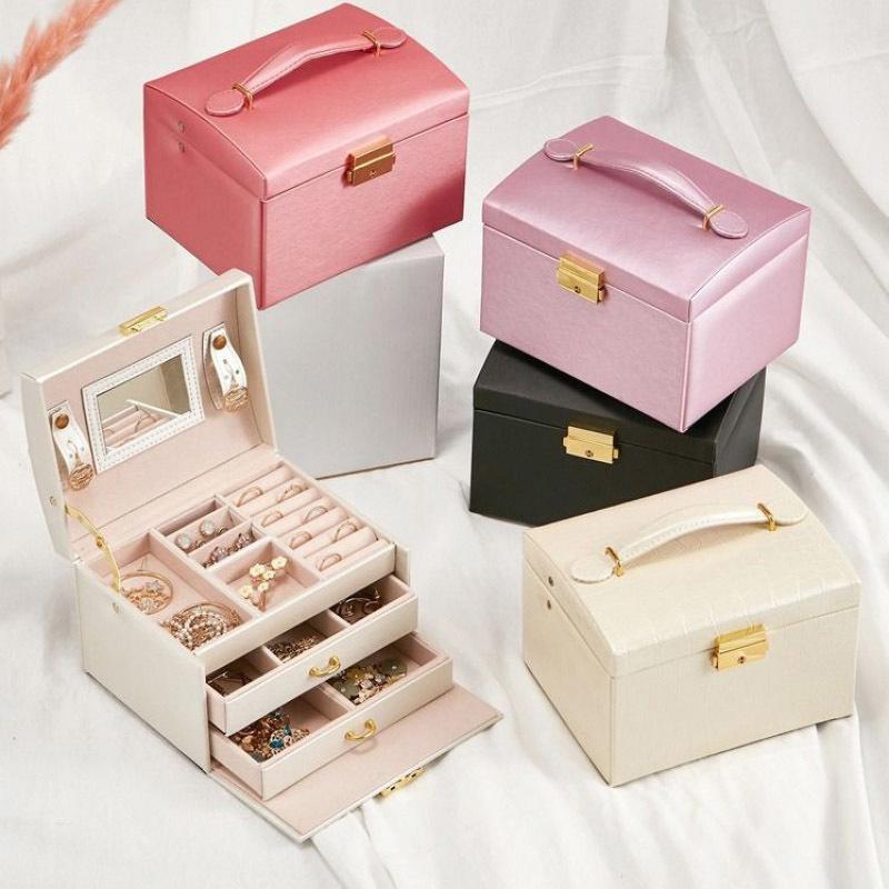 Hot Custom Pu Leather Portable Personalized Jewelry Case Small Travel Jewellery Organizer Storage Jewelry Box
