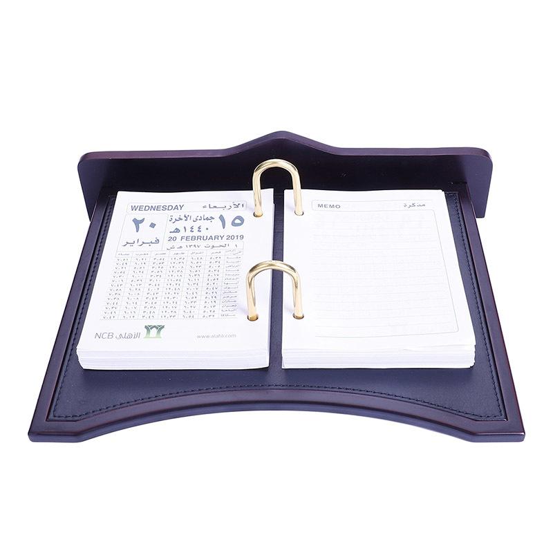 High Top Wooden Leather Standard Perpetual Desk Calendar Holder Stand